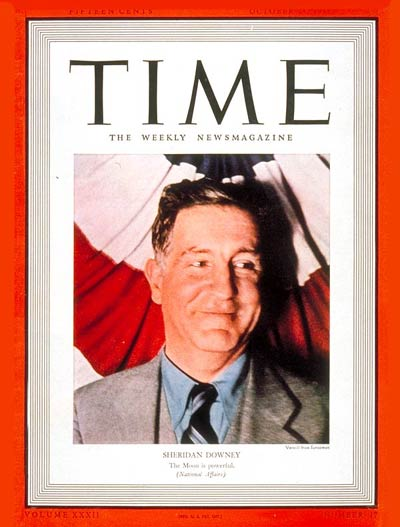 TIME Magazine Cover: Sheridan Downey -- Oct. 24, 1938