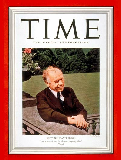 TIME Magazine Cover: Lord Beaverbrook -- Nov. 28, 1938