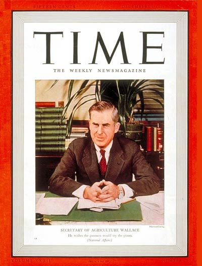 TIME Magazine Cover: Henry A. Wallace -- Dec. 19, 1938