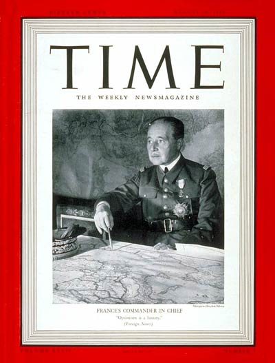 TIME Magazine Cover: General Maurice Gamelin -- Aug. 14, 1939