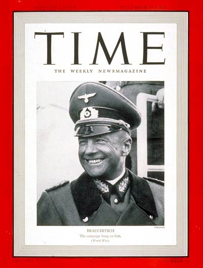 TIME Magazine Cover: General von Brauchitsch -- Sep. 25, 1939