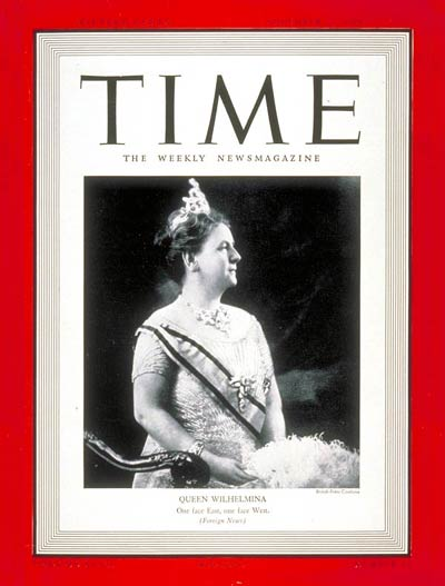 TIME Magazine Cover: Queen Wilhelmina -- Nov. 27, 1939