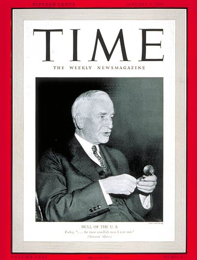 TIME Magazine Cover: Cordell Hull -- Jan. 8, 1940