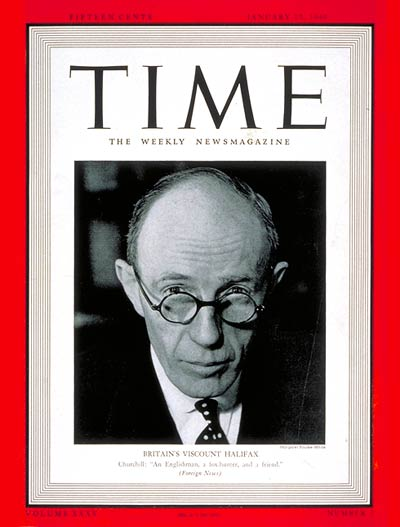 TIME Magazine Cover: Charles Lindley, Viscount Halifax -- Jan. 15, 1940