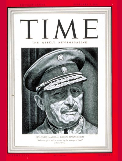 TIME Magazine Cover: Barron Mannerheim -- Feb. 5, 1940