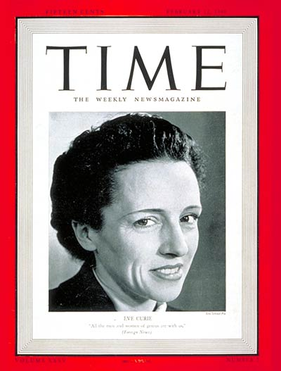 TIME Magazine Cover: Eve Curie -- Feb. 12, 1940