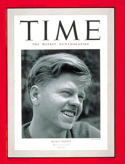 TIME Magazine Cover: Mickey Rooney -- Mar. 18, 1940