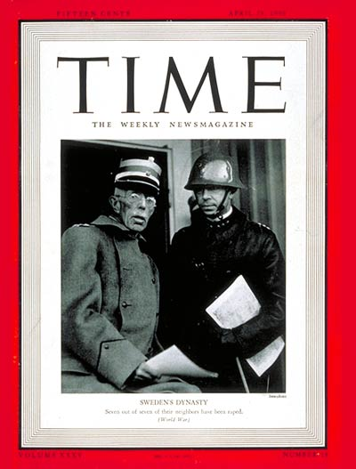 TIME Magazine Cover: King Gustaf -- Apr. 29, 1940