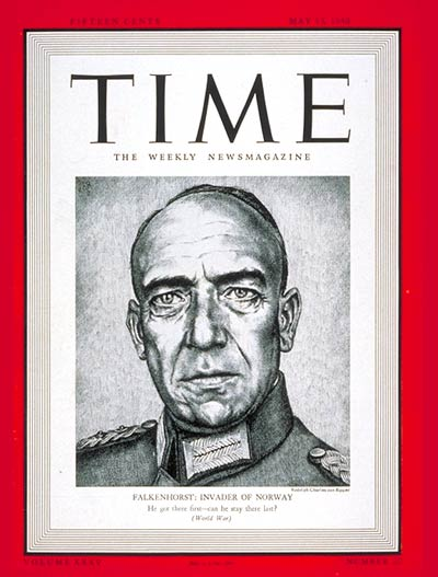 TIME Magazine Cover: General Von Falkenhorst -- May 13, 1940