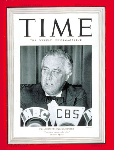 TIME Magazine Cover: Franklin Delano Roosevelt -- June 10, 1940