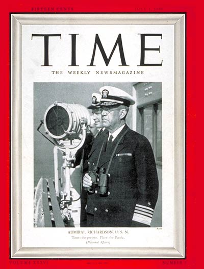 TIME Magazine Cover: Admiral Richardson -- July 1, 1940