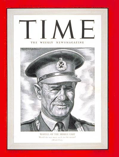 Lieut. General Sir Archibald Wavell is Commander in Chief of Britain's Army in the Middle East