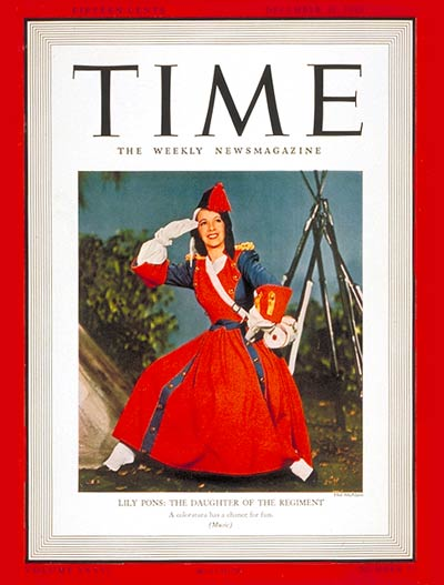 TIME Magazine Cover: Lily Pons -- Dec. 30, 1940