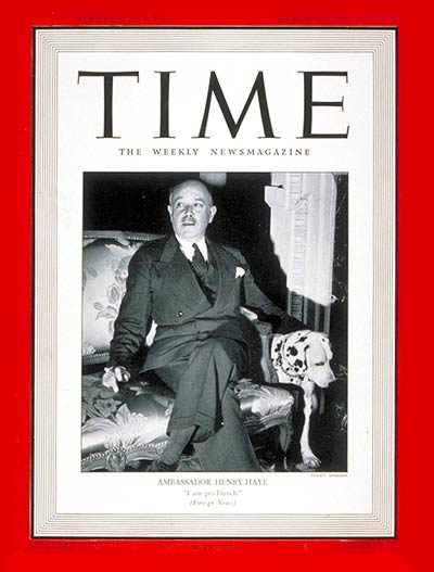TIME Magazine Cover: Gaston Henry-Haye -- Mar. 10, 1941