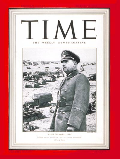 TIME Magazine Cover: Field Marshal List -- Mar. 24, 1941