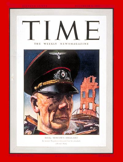 TIME Magazine Cover: Field Marshal von Bock -- Dec. 8, 1941