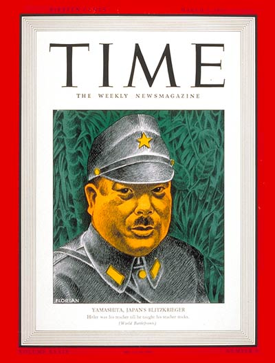 TIME Magazine Cover: General Yamashita -- Mar. 2, 1942
