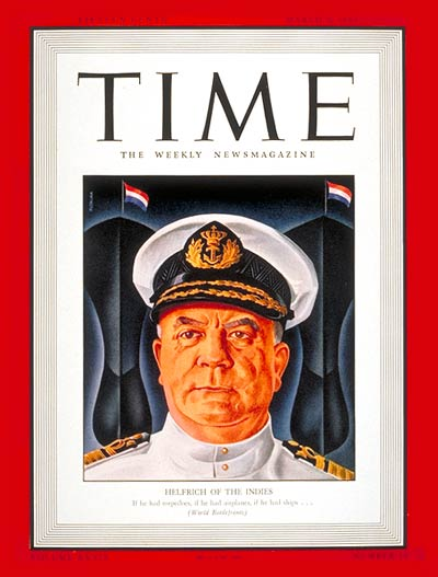 TIME Magazine Cover: Vice-Admiral Helfrich -- Mar. 9, 1942