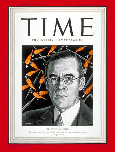 TIME Magazine Cover: Sir Stafford Cripps -- Apr. 13, 1942