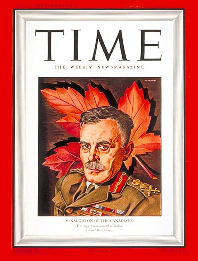 TIME Magazine Cover: General McNaughton -- Aug. 10, 1942