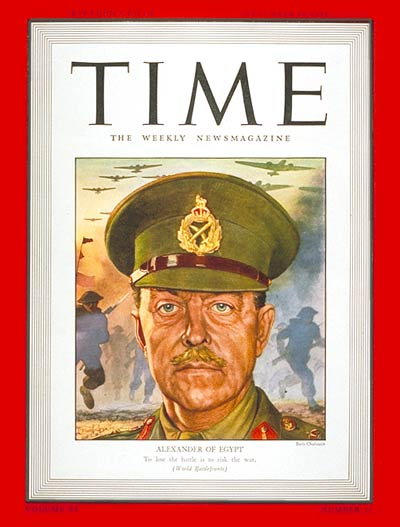 TIME Magazine Cover: General Sir Harold Alexander -- Sep. 14, 1942