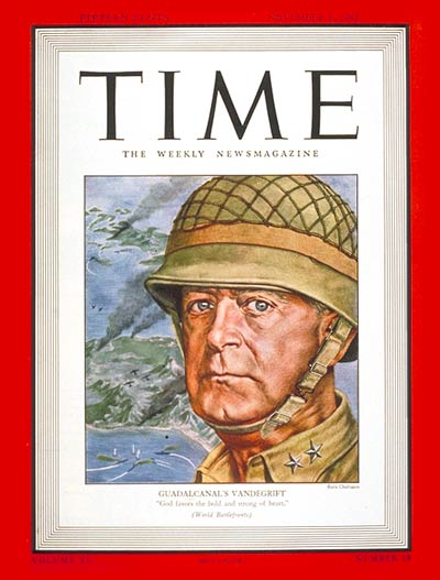 TIME Magazine Cover: General Vandegrift -- Nov. 2, 1942