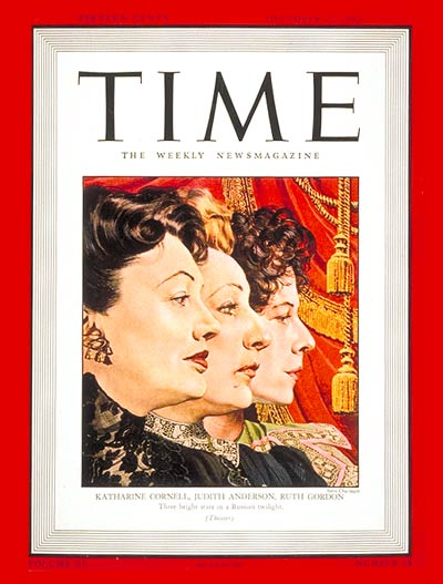 TIME Magazine Cover: Katharine Cornell, Judith Anderson & Ruth Gordon -- Dec. 21, 1942