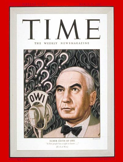 TIME Magazine Cover: Elmer Davis -- Mar. 15, 1943
