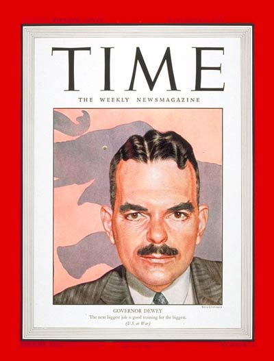 TIME Magazine Cover: Gov. Thomas E. Dewey -- Nov. 1, 1943