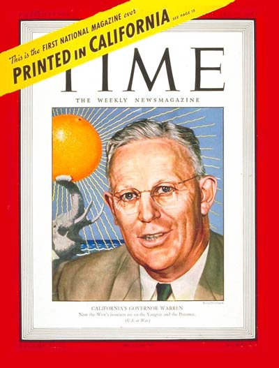 TIME Magazine Cover: Earl Warren -- Jan. 31, 1944