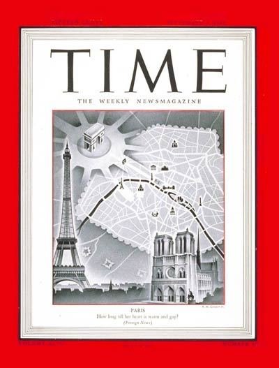 TIME Magazine Cover: Paris -- Sep. 4, 1944