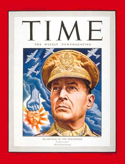 American General Douglas MacArthur, with a fist punching an image of Japanese Emperor Hirohito