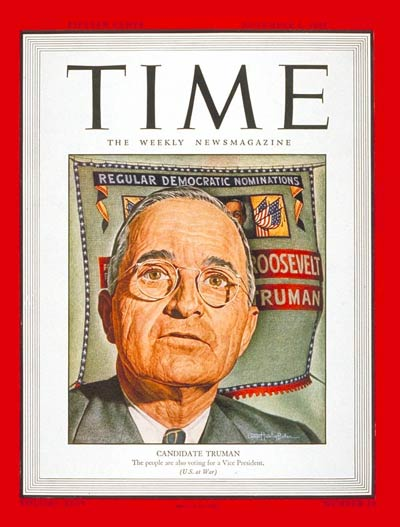 TIME Magazine Cover: Harry S. Truman -- Nov. 6, 1944
