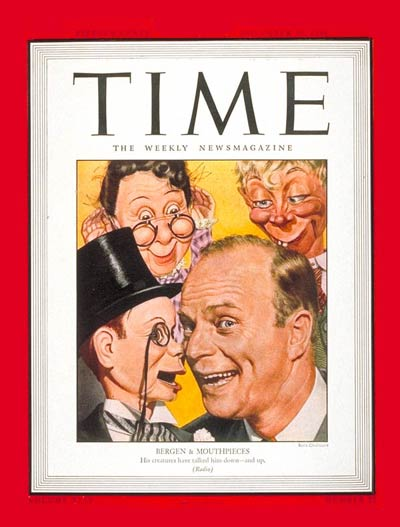 Ventriloquist Edgar Bergen and his dummies, including Charlie McCarthy