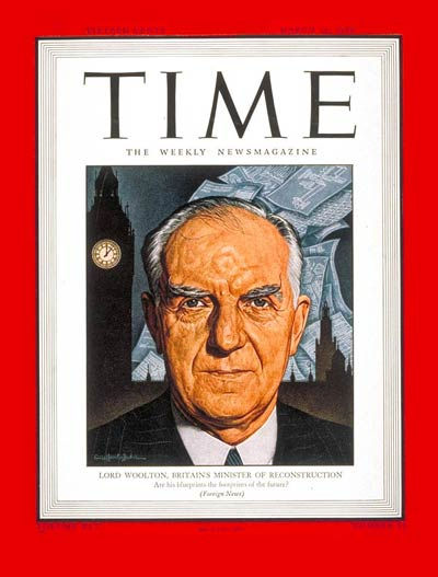 TIME Magazine Cover: Lord Woolton -- Mar. 26, 1945