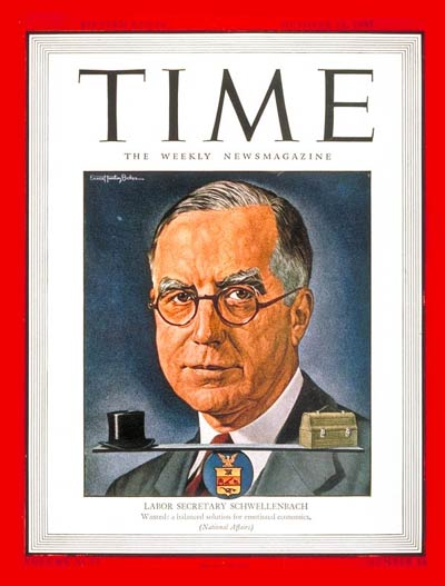 TIME Magazine Cover: Lewis Schwellenbach -- Oct. 15, 1945