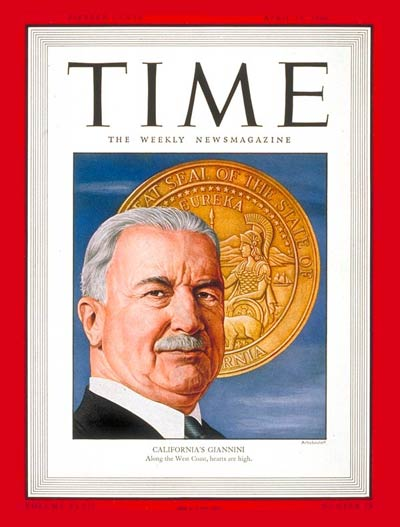 TIME Magazine Cover: Amadeo Peter Giannini -- Apr. 15, 1946