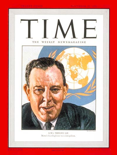 TIME Magazine Cover: Trygve Lie -- Nov. 25, 1946