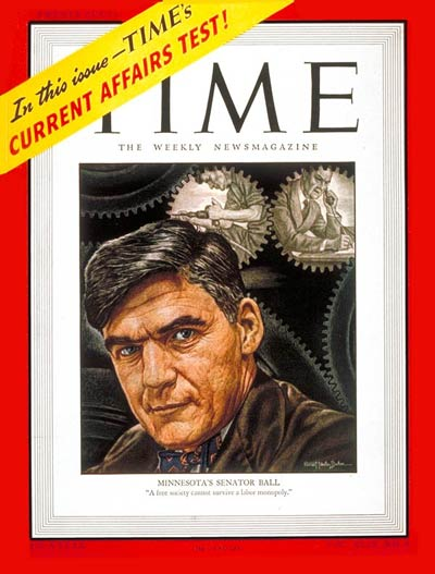 TIME Magazine Cover: Sen. Joseph H. Ball -- Mar. 3, 1947