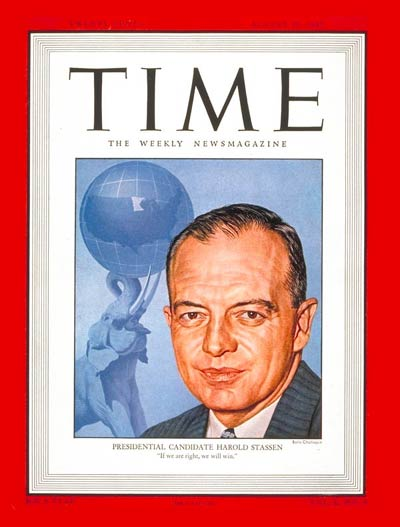 TIME Magazine Cover: Harold Stassen -- Aug. 25, 1947