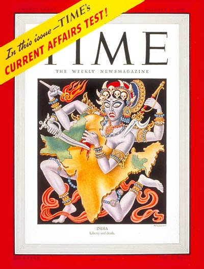 TIME Magazine Cover: India -- Oct. 27, 1947