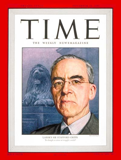 TIME Magazine Cover: Sir Stafford Cripps -- Nov. 10, 1947