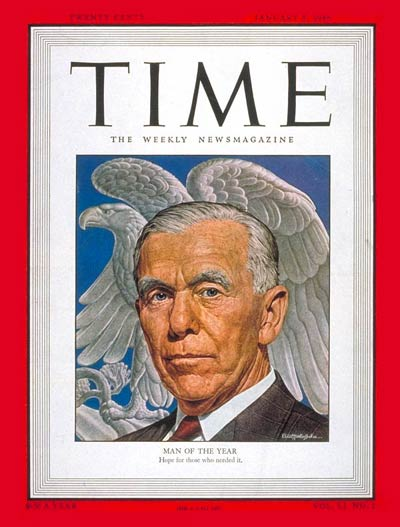 TIME Magazine Cover: George C. Marshall, Man of the Year -- Jan. 5, 1948