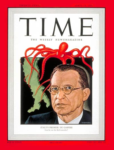 TIME Magazine Cover: Alcide de Gasperi -- Apr. 19, 1948