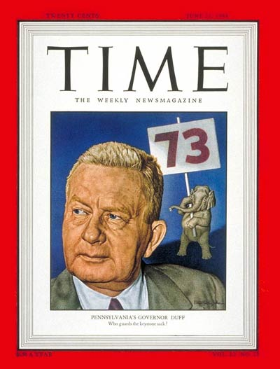 TIME Magazine Cover: Gov. James H. Duff -- June 21, 1948