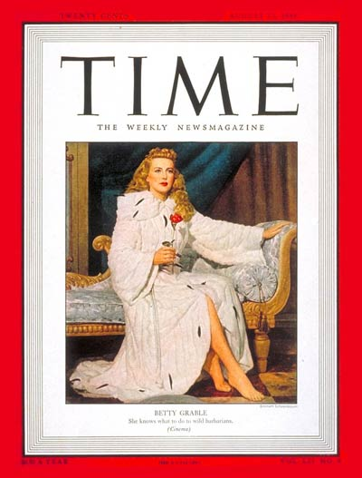 TIME Magazine Cover: Betty Grable -- Aug. 23, 1948