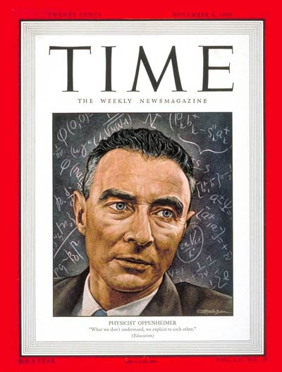 J. Robert Oppenheimer on the November 8, 1948 cover of Time magazine.
