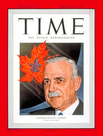 TIME Magazine Cover: Louis St. Laurent -- Sep. 12, 1949