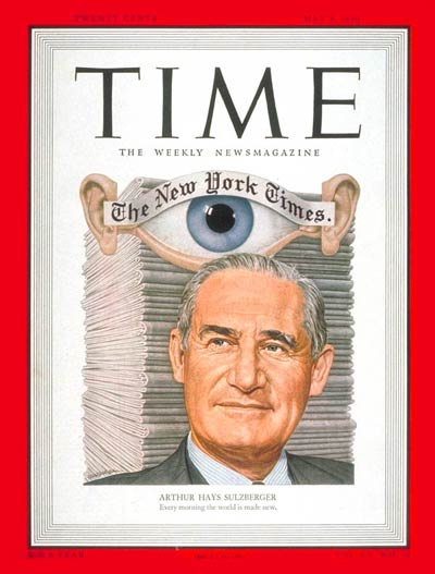 TIME Magazine Cover: Arthur H. Sulzberger -- May 8, 1950