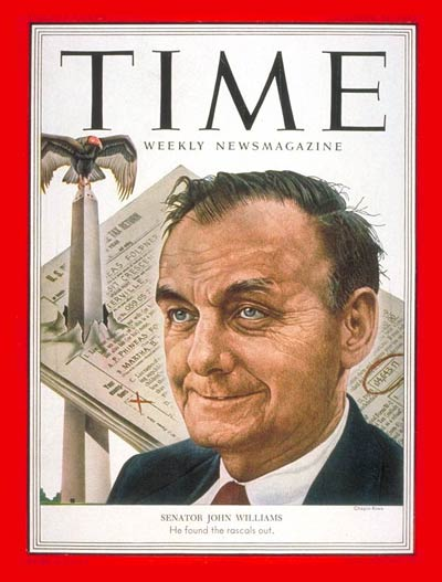 TIME Magazine Cover: Senator John Williams -- Oct. 13, 1952